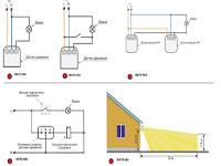 Схема подключения датчика движения для освещения, для работы в двух режимах (датчик + выключатель)