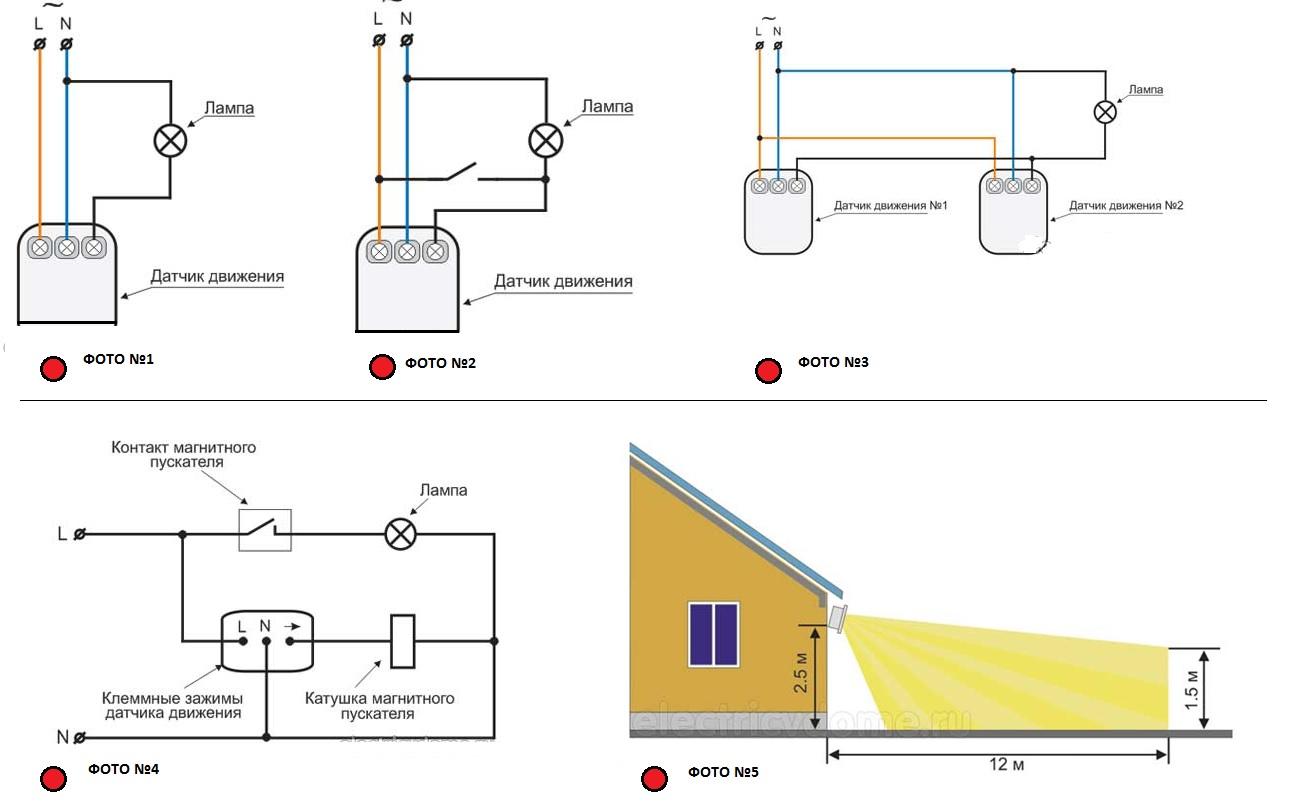 Универсальная схема подключения датчика движения для освещения, Правильная установка датчика движения